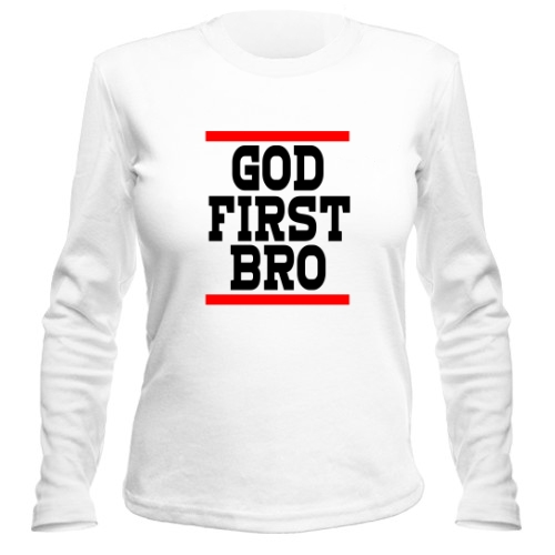 Женский лонгслив God first bro